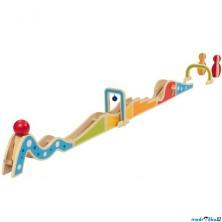 Kuličková dráha - Dřevěná s kuželkami, 20 dílů (Goki)