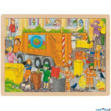 Puzzle na desce - Velké A3, Popeláři, 48ks (Goki)