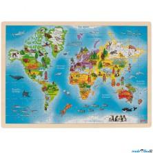 Puzzle na desce - Velké, Mapa světa, 192ks (Goki)