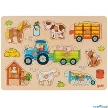 Puzzle vkládací - Traktor s vlečkou, 9ks (Goki)