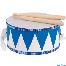 Hudba - Bubínek dřevěný, Modrý, 20cm (Goki)