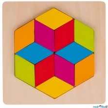 Mozaika - Vkládačka šestiúhelník na desce, 12 dílků (Goki)