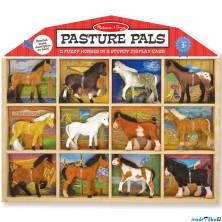 Zvířátka - Set sametových zvířat, Koně 12ks (M&D)