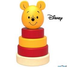 Skládačka s kroužky - Dřevěná pyramida Medvídek Pú (Disney Derrson)