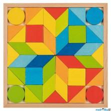 Mozaika - Dřevěné tvary na desce, 44 dílků (Goki)