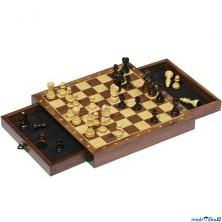 Šachy - Dřevěné magnetické se zásuvkami (Goki)