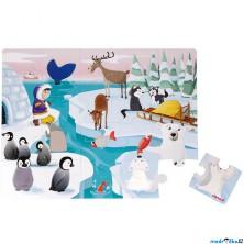 Puzzle hmatové - Dotykové, Život na ledě, 20ks (Janod)