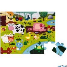 Puzzle hmatové - Dotykové, Zvířátka na farmě, 20ks (Janod)