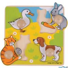 Puzzle pro nejmenší - Úchyt, Domácí zvířata, 4ks (Bigjigs)