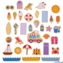 Magnetky - Prázdniny u moře dřevěné, 35ks (Bigjigs)