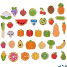 Magnetky - Ovoce a zelenina dřevěné, 35ks (Bigjigs)