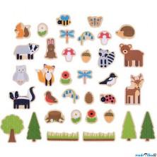 Magnetky - Lesní zvířátka dřevěné, 35ks (Bigjigs)