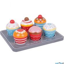 Kuchyň - Muffiny na podnose dřevěné (Bigjigs)