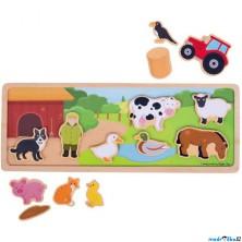 Puzzle magnetické - Farma na desce dřevěné (Bigjigs)