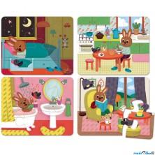 Puzzle pro nejmenší - Dům se zajíčkem, 24ks (Vilac)