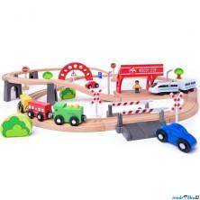 Vláčkodráha Woody - S elektrickou mašinkou a viaduktem, 60 dílů