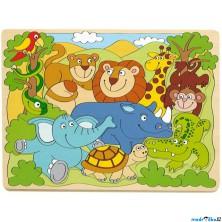 Puzzle vkládací - Africká veselá zvířátka, 9ks (Woody)