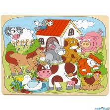 Puzzle vkládací - Domácí veselá zvířátka, 10ks (Woody)