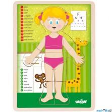 Puzzle výukové - Anatomie, Lidské tělo holka CZ (Woody)