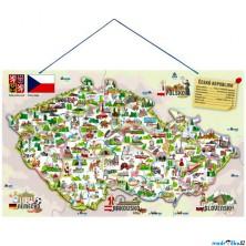 Puzzle magnetické - Mapa ČR s obrázky a hrou, 3v1 (Woody)