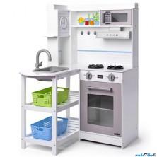 Kuchyňka dětská - Dřevěná, Rohová s plastovými koši bílá (Woody)