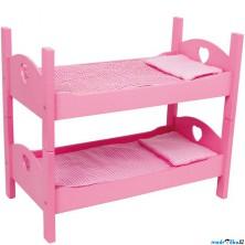 Postýlka pro panenky - Patrová růžová dřevěná (Legler)