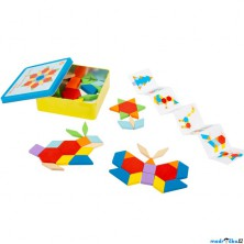 Mozaika - Dřevěná tangramová v kovové krabičce (Legler)