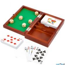 Společenské hry - Hrací kostky a karty v dřevěném boxu (Legler)