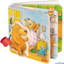 První knížka - Malý medvěd, 4 dřevěné listy (Goki)