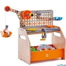 Stavebnice montážní - Vědcův ponk střední, 58 dílků (Hape)