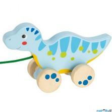 Tahací hračka - Dinosaurus modrý dřevěný (Goki)