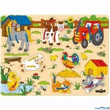 Puzzle s provlékáním - Zvířátka na statku, 8ks (Woody)