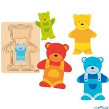 Puzzle vícevrstvé - Medvídek v kalhotách, 5 vrstev (Goki)