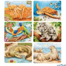 Puzzle dřevěné - Mini, Australská zvířátka, 24 dílků, 1ks (Goki)