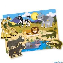 Puzzle vkládací - Safari dřevěné, 8ks (M&D)