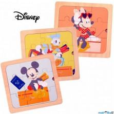Puzzle pro nejmenší - Na desce, Dřevěné 3v1 (Disney Derrson)