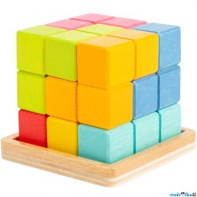 Hlavolam dřevěný - Kostka 3D tetris na desce (Legler)