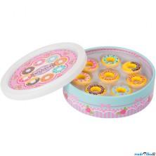 Dekorace prodejny - Dřevěné donutky v dóze (Legler)