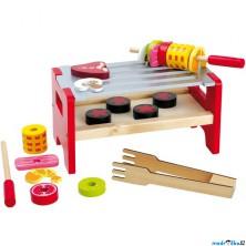 Kuchyň - Gril dřevěný stolní se špízy (Legler)