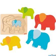 Puzzle vícevrstvé - Slon II, 5 vrstev (Goki)