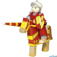 Postavička dřevěná - Rytíř červený na koni (Goki)