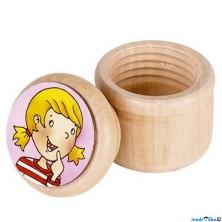 Dřevěná krabička na první zoubky - Holka červená (Goki)