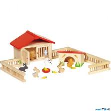 Nábytek pro panenky - Set ohrada s králíkárnou (Goki)