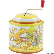 Muzikální hrací skříňka - Plechová, Farma (Goki)