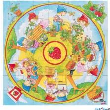 Puzzle pro nejmenší - XXL, Pěstujeme jahody, 49ks (Goki)