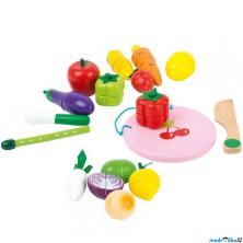 Krájení - Dřevěný set ovoce a zelenina v kyblíku (Legler)