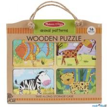 Puzzle pro nejmenší - Na desce, Zvířata na cestu, 16ks (M&D)