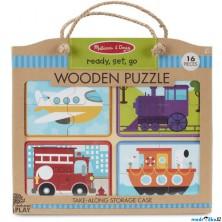 Puzzle pro nejmenší - Na desce, Doprava na cestu, 16ks (M&D)