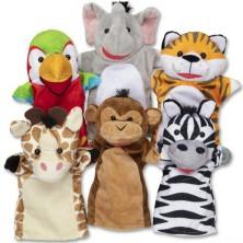 Maňásci - Sada 6ks maňásků, Safari zvířata (M&D)