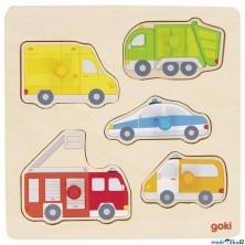 Puzzle pro nejmenší - Úchyt, Auta v ulicích, 5ks (Goki)